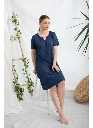 Sementa Rahat Kalıp Kot Görünümlü Elbise - Lacivert Lacivert